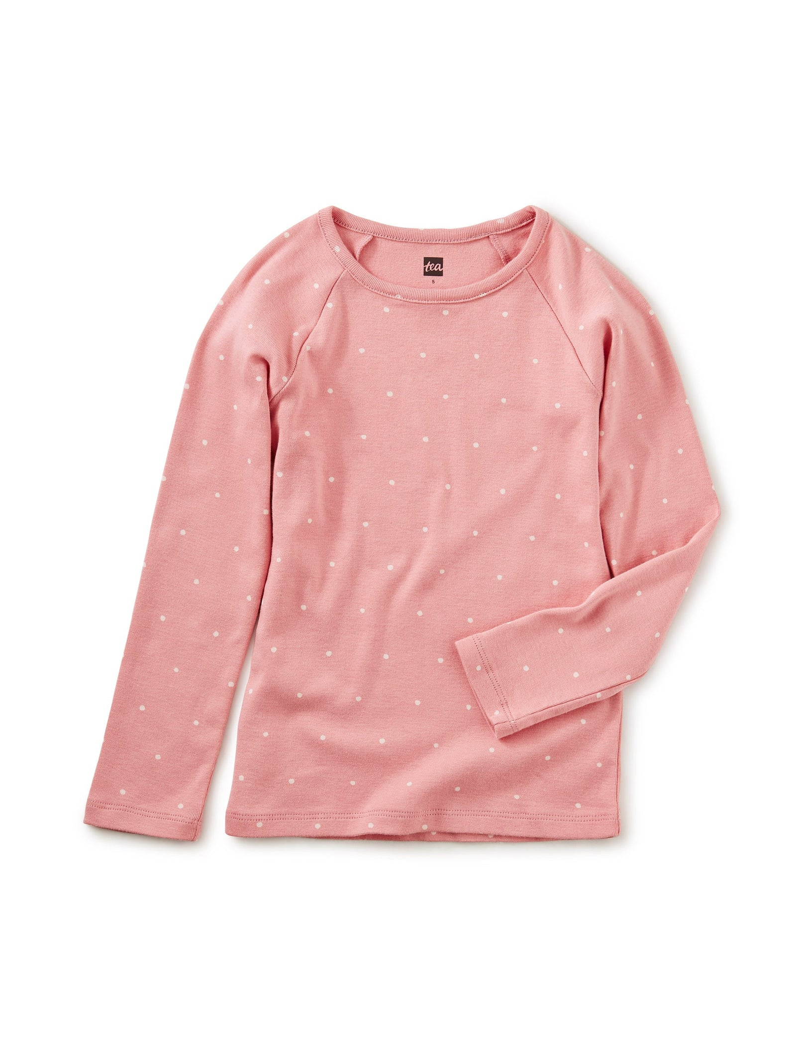 Little tea collection girl 2 Dot Purity Tee in Mauve Glow