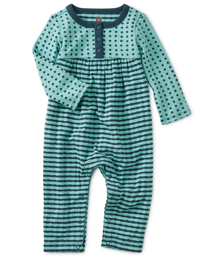 Little tea collection baby girl double knit henley romper