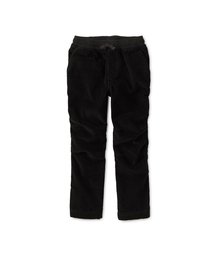 Little tea collection boy easy corduroy pants in jet black