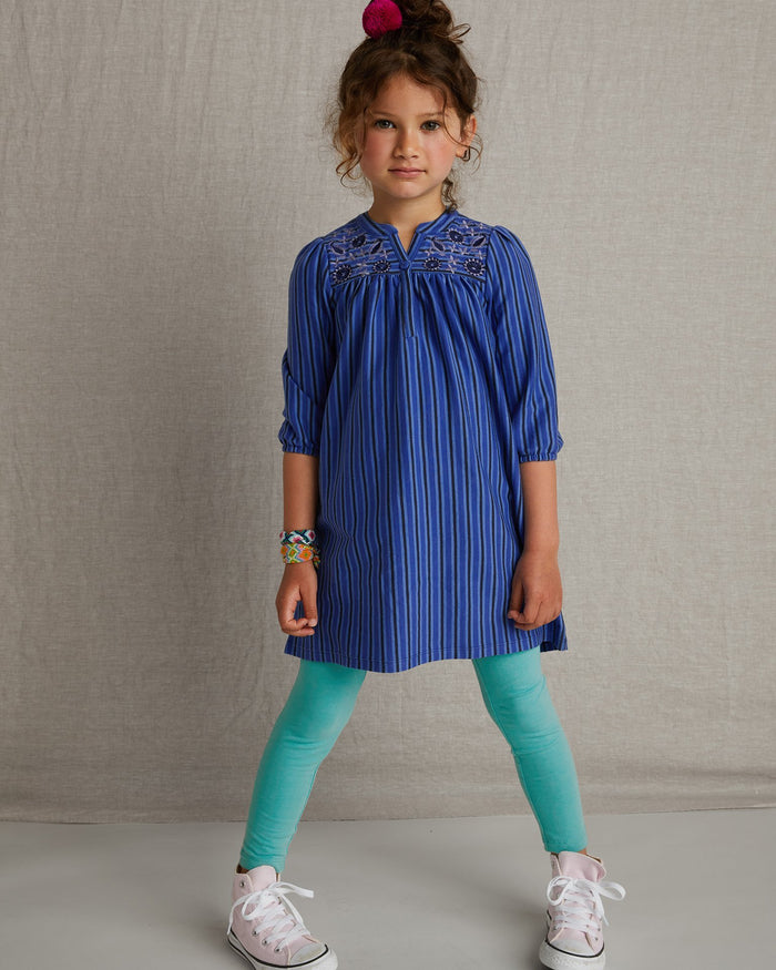 Little tea collection girl embroidered henley dress in majorelle blue