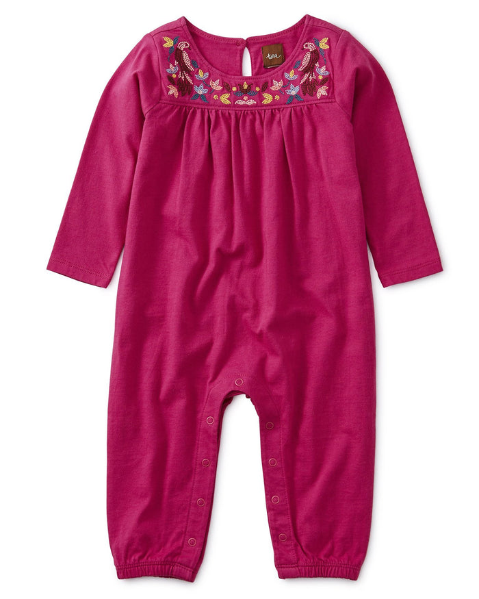 Little tea collection baby girl embroidered long sleeve romper