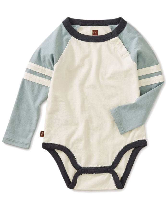 Little tea collection baby boy explorer colorblock raglan bodysuit