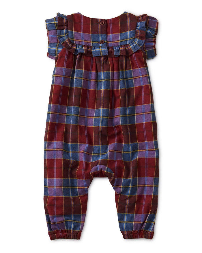 Little tea collection baby girl family plaid ruffle romper