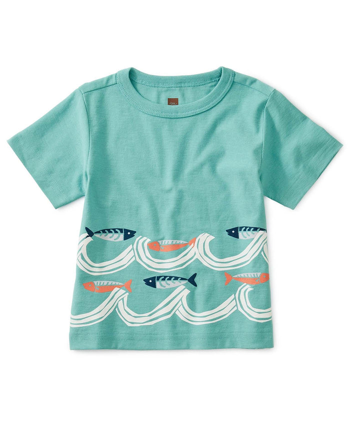 Little tea collection baby boy fish waves baby graphic tee in patina