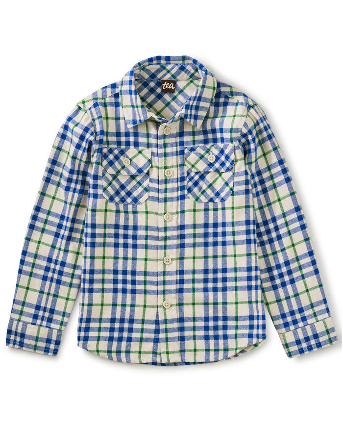 Little tea collection boy flannel button up in alpamayo plaid