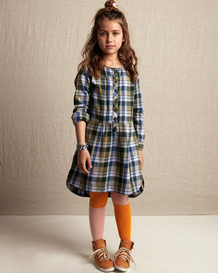 Little tea collection girl flannel plaid shirtdress