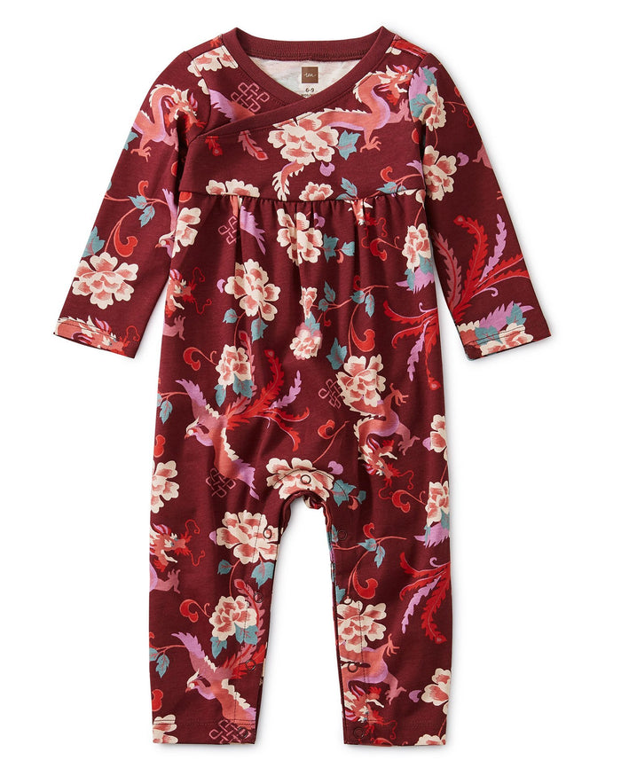 Little tea collection baby girl floral wrap neck romper