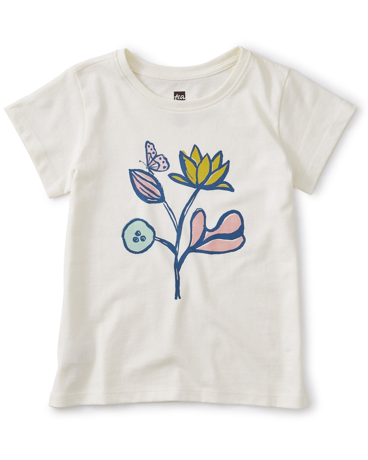 Little tea collection girl flower power graphic tee in chalk