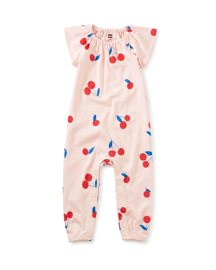 Little tea collection baby girl flutter sleeve baby romper in giant ginjas