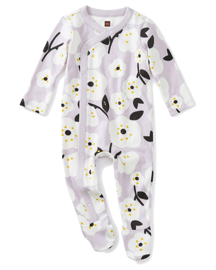 Little tea collection layette 0-3 footed romper in pop floral