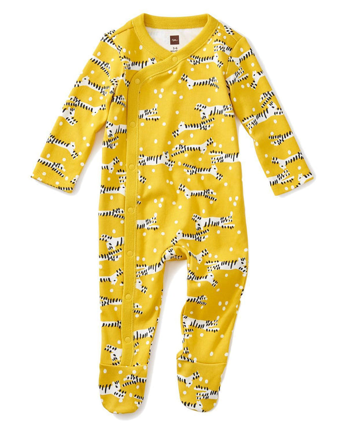 Little tea collection layette 0-3 footed romper in tiger tiptoes