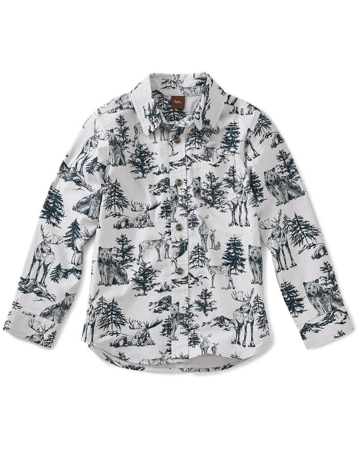 Little tea collection boy 10 forest toile button shirt