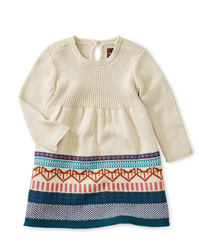 Little tea collection baby girl fox fairisle baby sweater dress