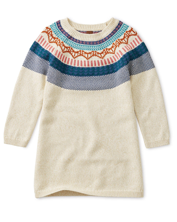Little tea collection girl fox fairisle sweater dress