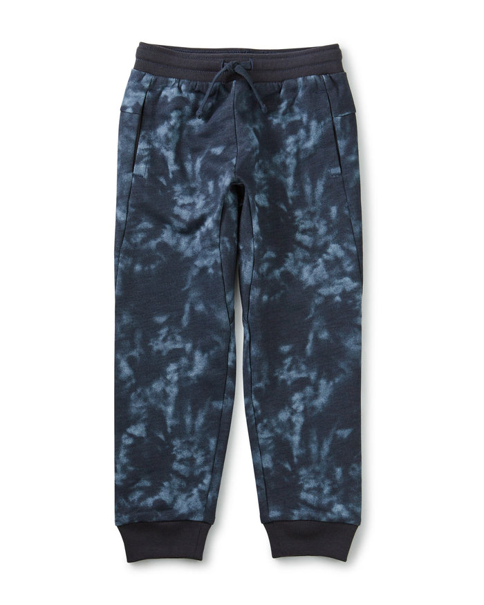 Little tea collection boy french terry joggers in deep blue tie dye