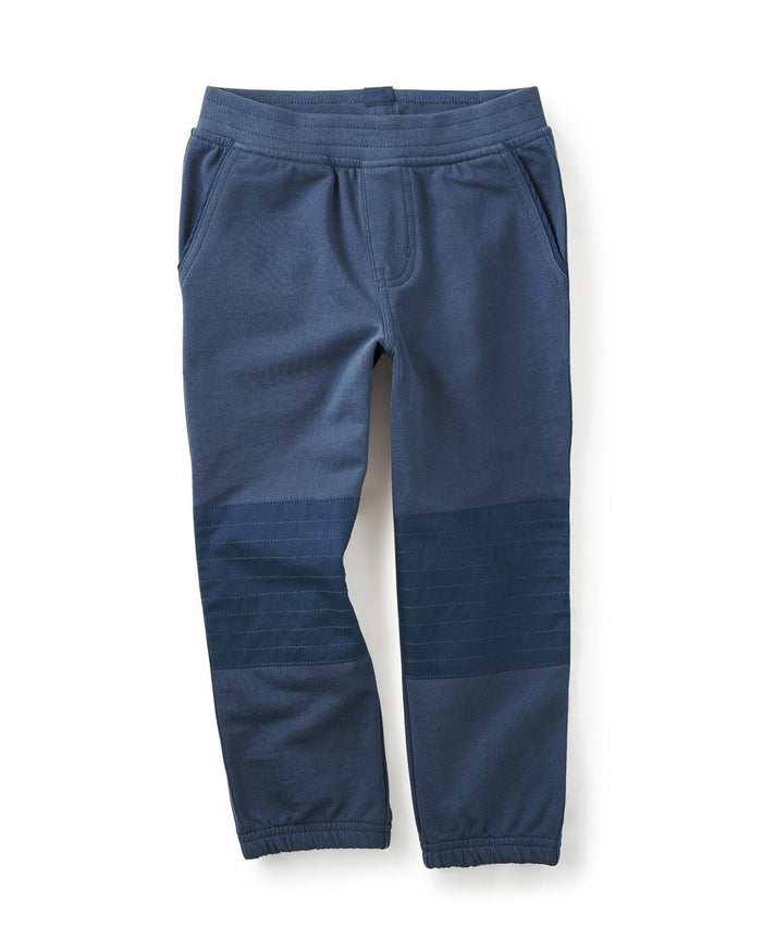 Little tea collection boy 12 french terry moto pants in nautilus