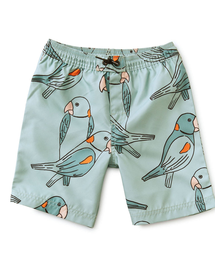 Little tea collection boy full-length swim trunk in parakeets + mineral