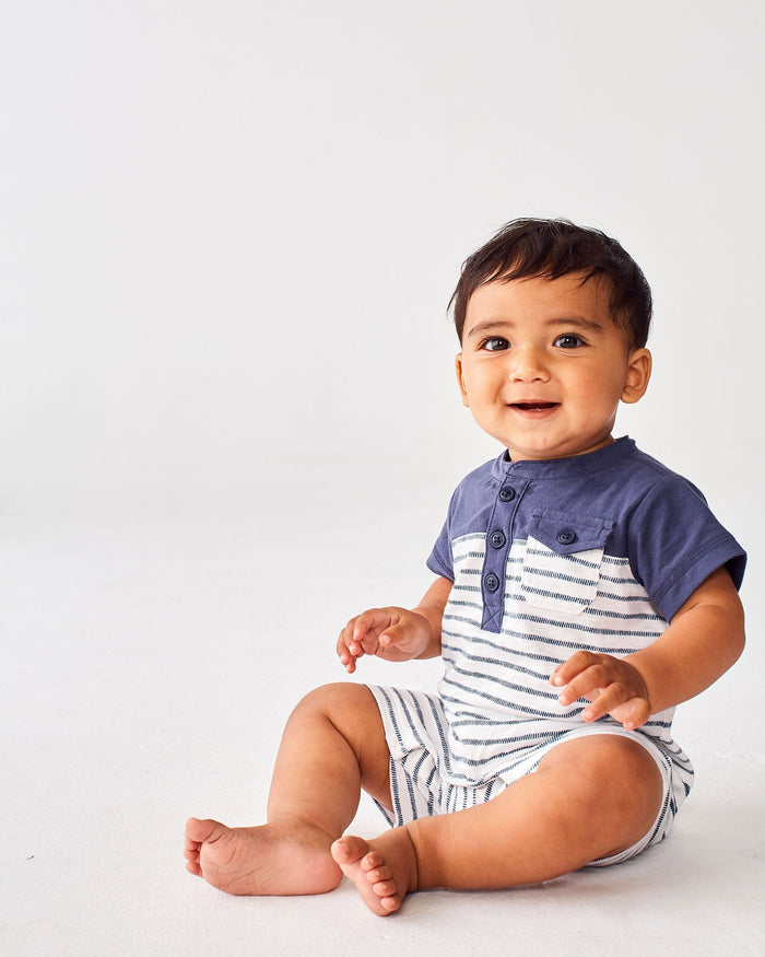 Little tea collection baby boy 0-3 henley colorblock romper