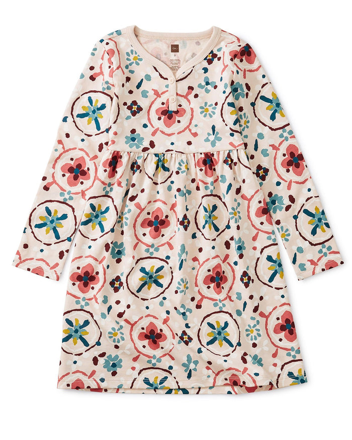 Little tea collection girl henley dress in floral tibetan rugs