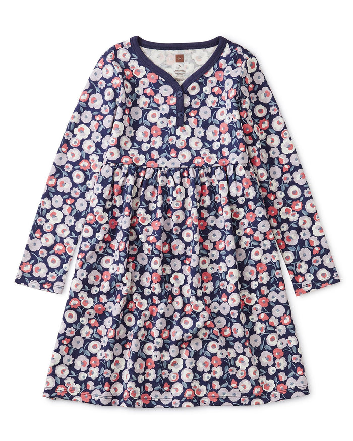 Little tea collection girl henley dress in marigold flowers