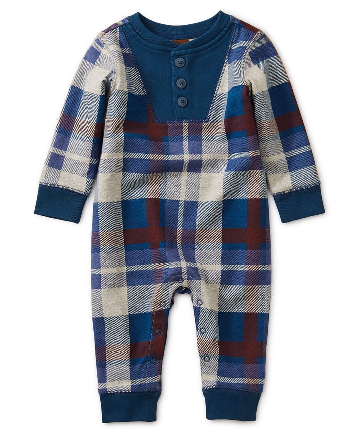 Little tea collection baby boy henley plaid romper