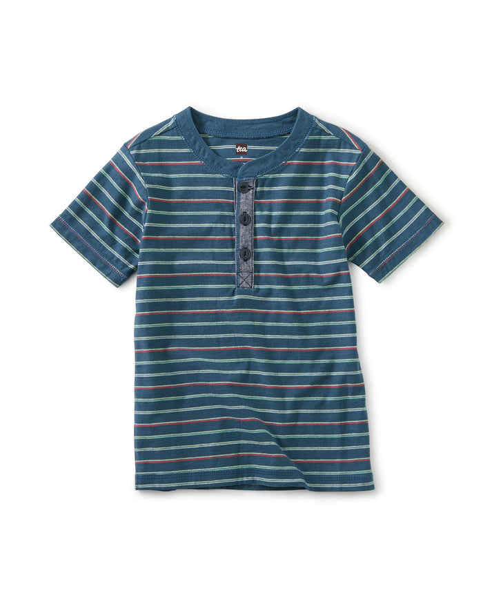 Little tea collection boy henley tee in indian teal
