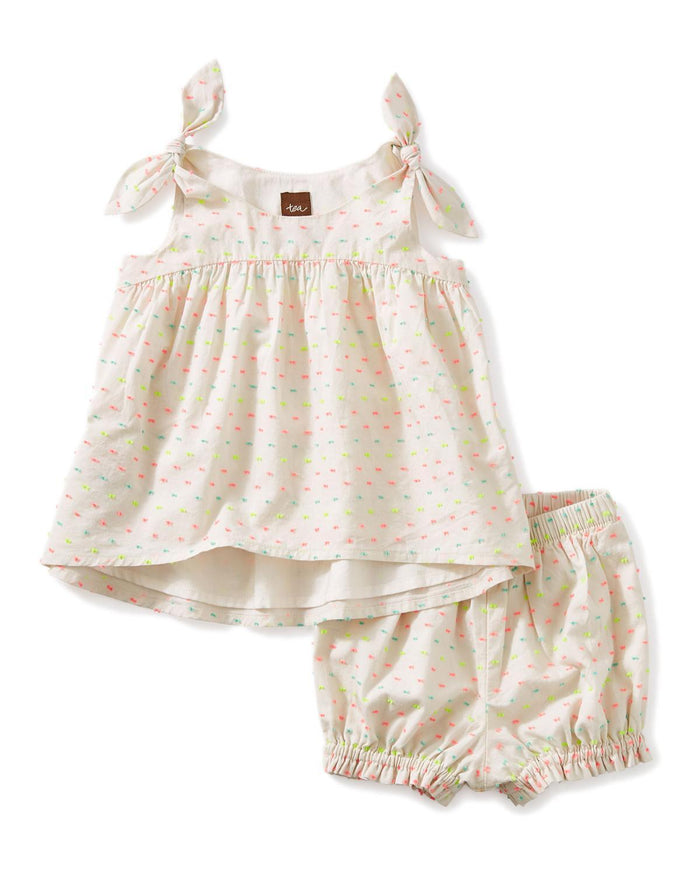 Little tea collection little girl 12_18 hi-lo tie shoulder baby set