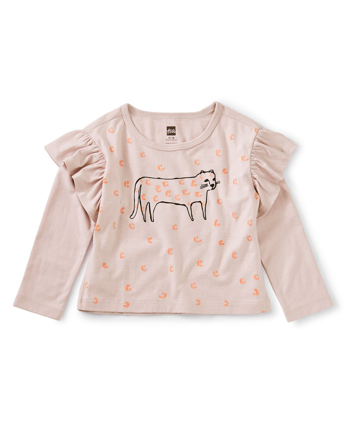 Little tea collection baby girl jaguar ruffle graphic tee
