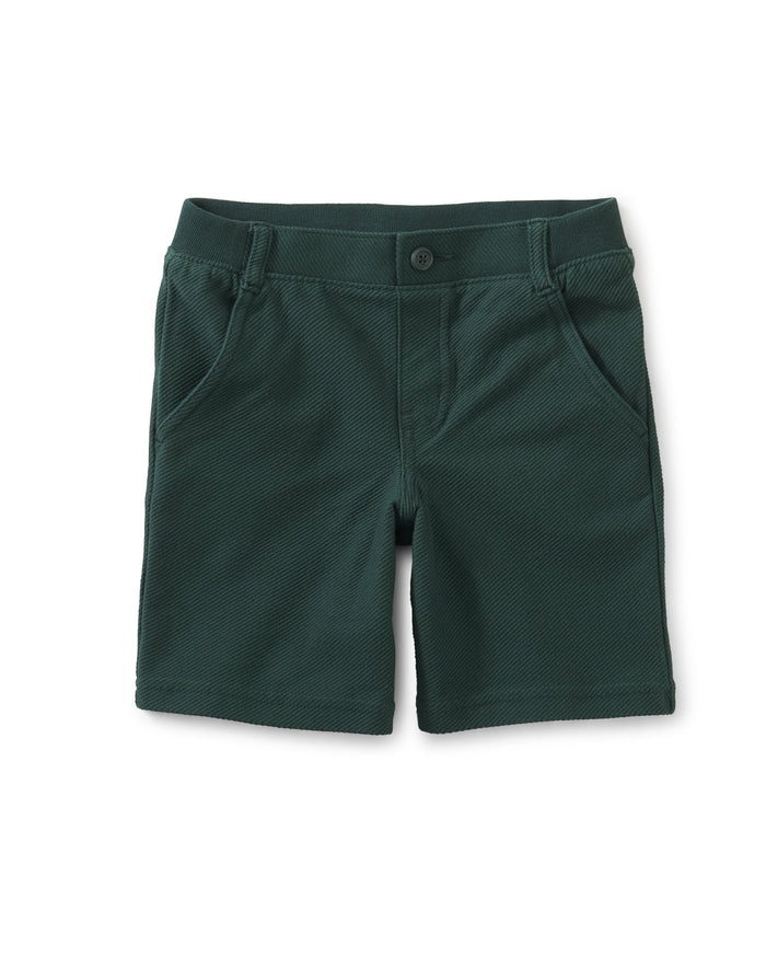 Little tea collection boy knit destination shorts in river green