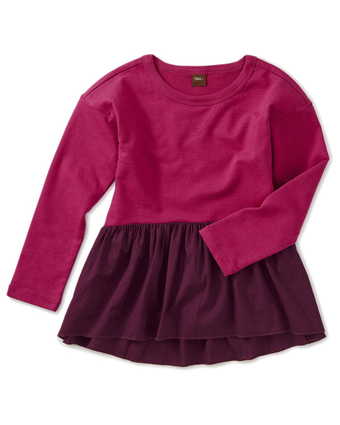 Little tea collection girl knit woven combo pullover