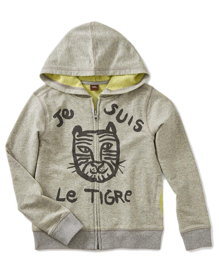Little tea collection girl 10 le tiger 2-tone zip hoodie