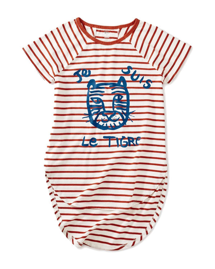 Little tea collection big girl 10 le tiger raglan hi-lo top