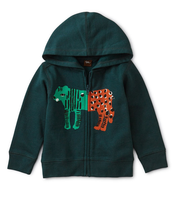 Little tea collection baby boy leopard tiger zip baby hoodie