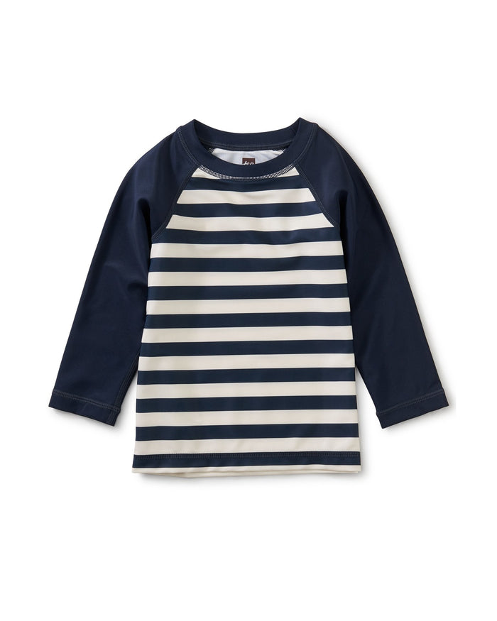 Little tea collection baby boy long sleeve baby rash guard in swim stripe dark
