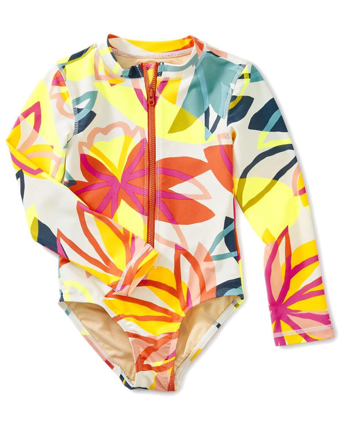 Little tea collection girl 5 long sleeve one-piece rash guard in tradewinds floral