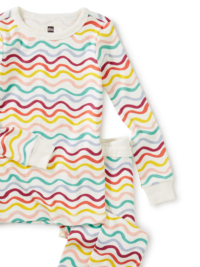 Little tea collection girl Long Sleeve Pajamas in Rainbow Waves