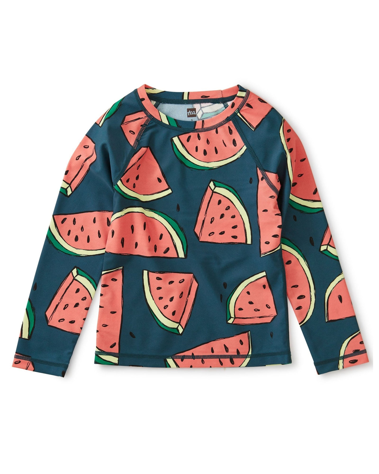 Little tea collection girl long sleeve rash guard in watermelons
