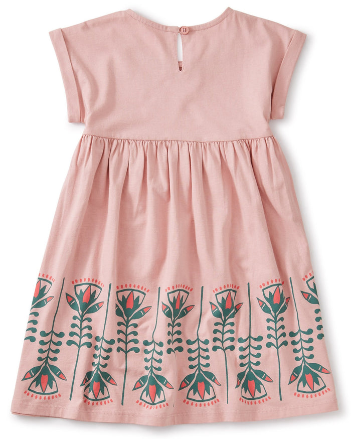 Little tea collection girl lotus graphic dress in zephyr