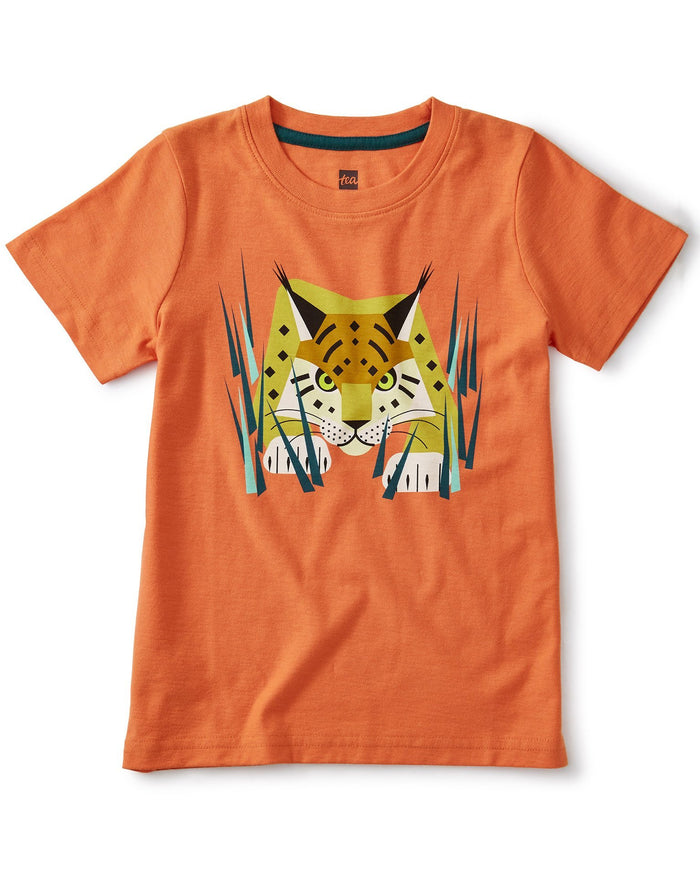 Little tea collection boy lynx graphic tee in orange spice