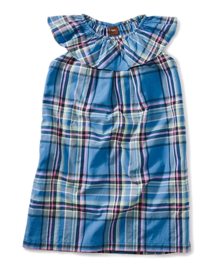 Little tea collection girl 10 madras ruffle neck dress