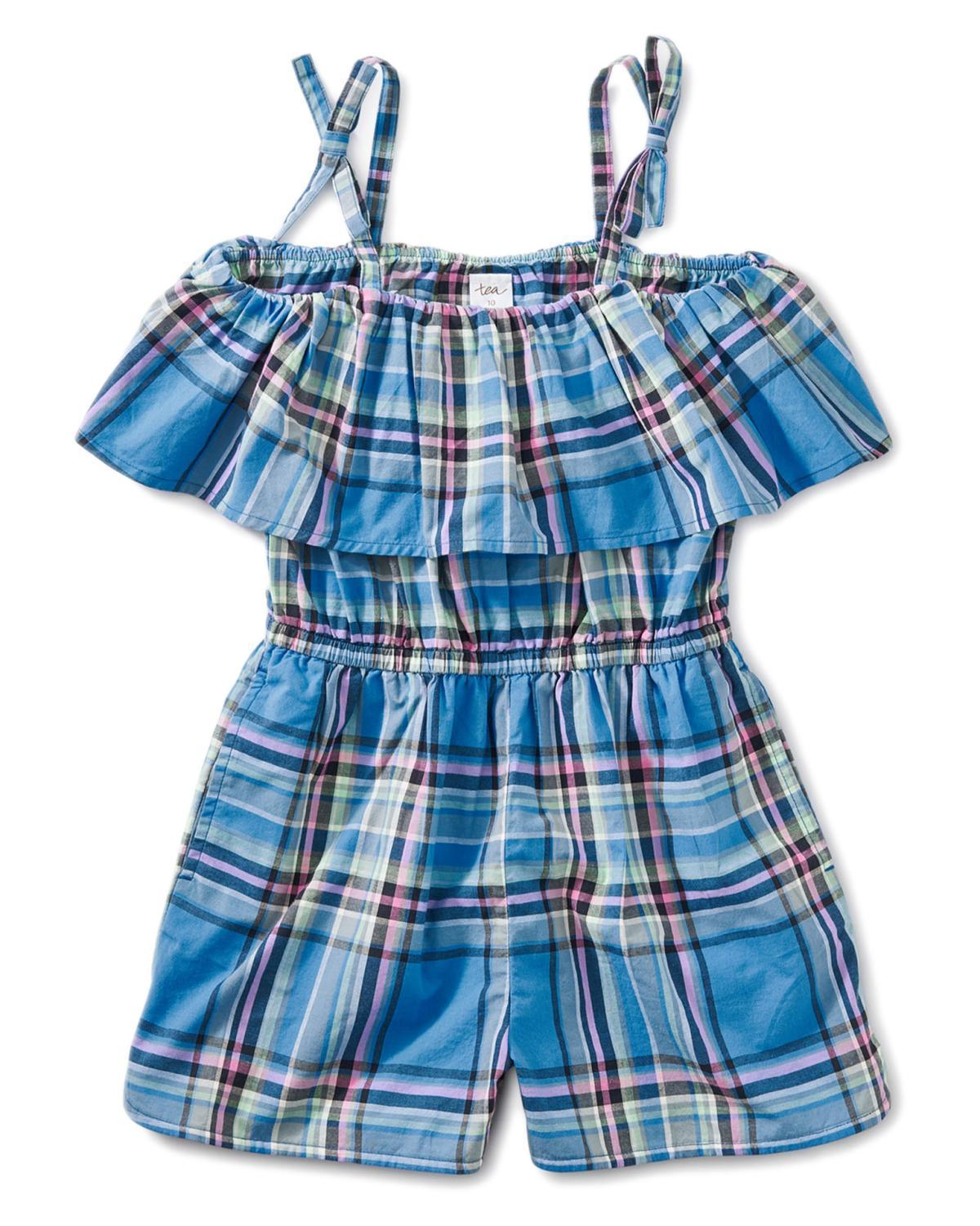 Little tea collection big girl 10 madras ruffle romper
