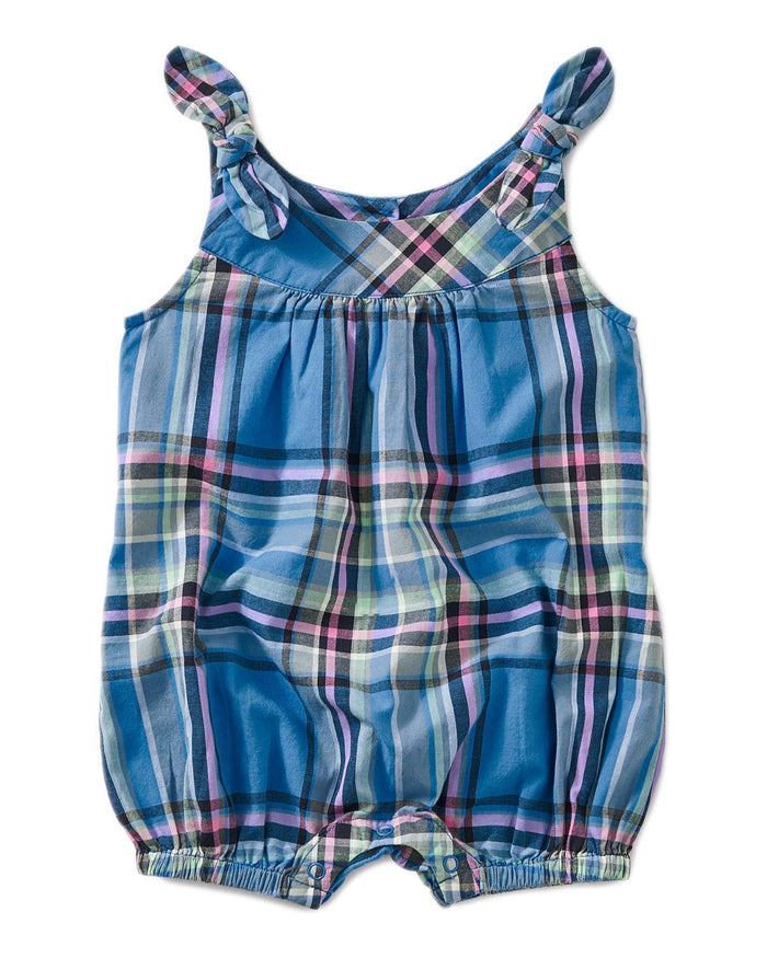 Little tea collection little girl 0-3 madras shoulder-tie romper