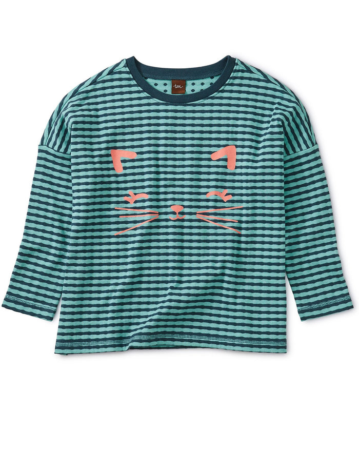 Little tea collection girl meow graphic double knit top