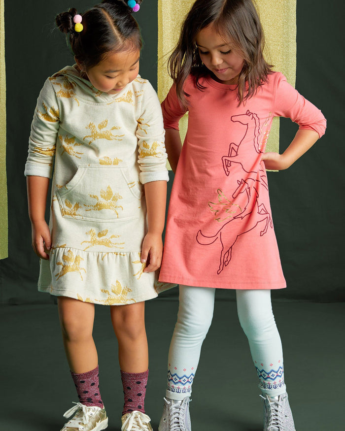 Little tea collection girl metallic wind horse dress