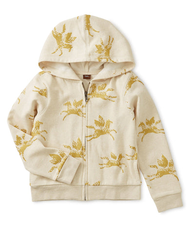Little tea collection girl metallic wind horse zip hoodie