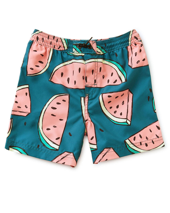 Little tea collection boy mid-length swim trunk in watermelons