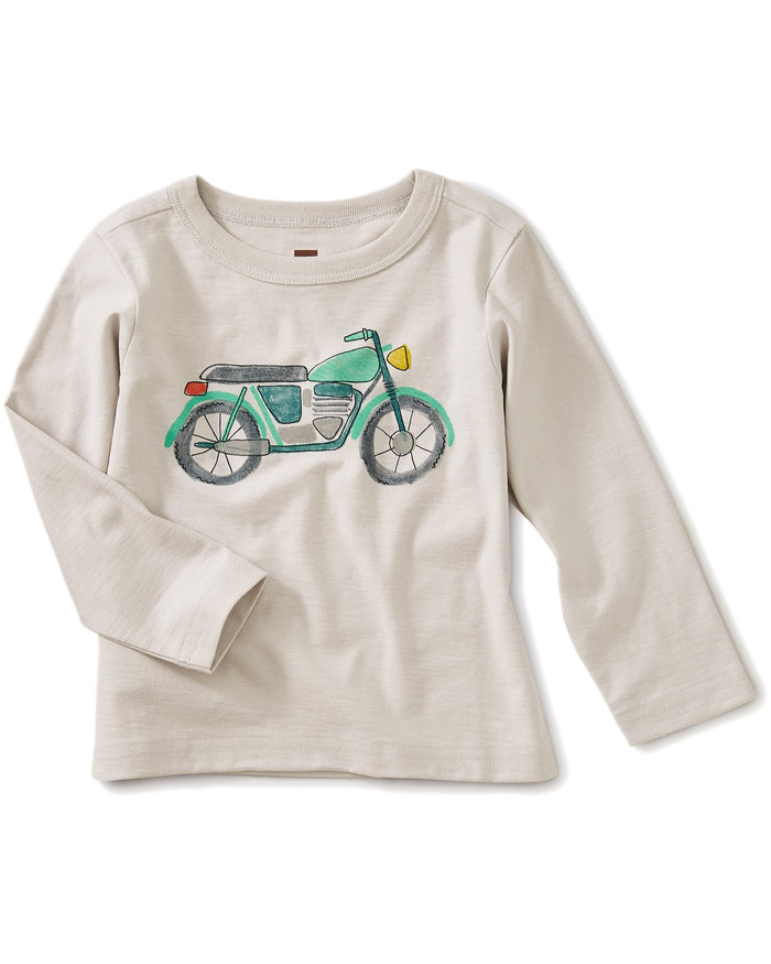 Little tea collection baby boy mini moto graphic baby tee