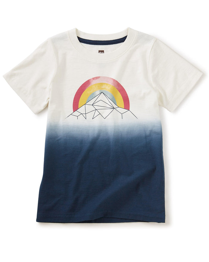 Little tea collection boy mountain rainbow dip dye tee