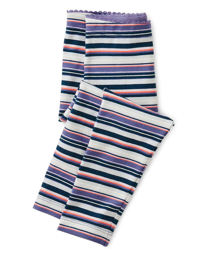 Little tea collection baby girl multi stripe baby leggings in hans purple