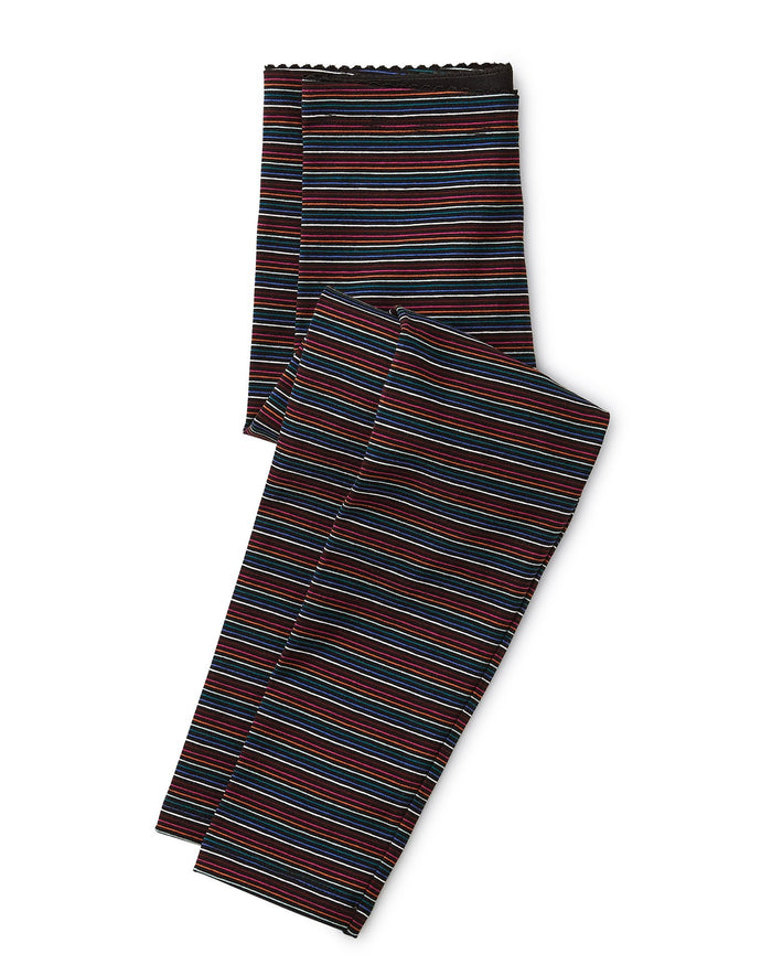 Little tea collection girl multi stripe leggings in jet black